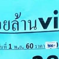 หวยซองร้อยล้าน ViP (สามตัวให้ชุดเดียว) งวดวันที่  1/11/60