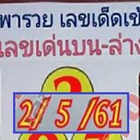หวยดัง หวย อ.ยุทธนาพารวย เลขเด่นบน-ล่าง งวดวันที่ 2/05/61